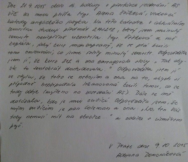 svědectví Domorákové